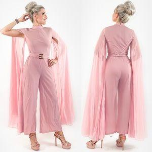 Pink Drape Sleeve Pants Jumpsuit